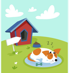 Cute jack russell terrier dog sleeping on a mat in vector