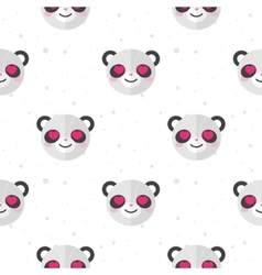 Flat cartoon panda in love seamless pattern vector