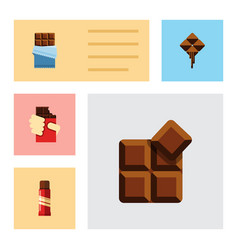 Flat icon sweet set of shaped box bitter cocoa vector