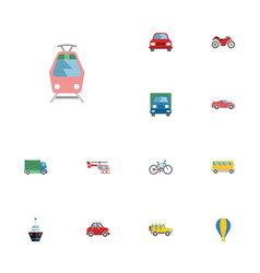 flat icons lorry motorbike luxury auto and other vector image vector image
