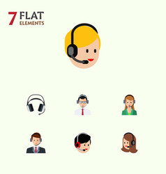 Flat telemarketing set of secretary operator vector