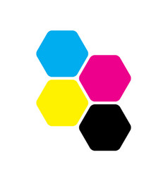 four hexagons in cmyk colors printer theme vector image vector image