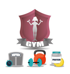Gym woman fitness weight woman label vector