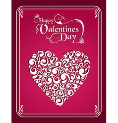 Happy Valentines day vintage heart background vector image vector image