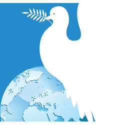 international day of peace dove over the world vector image