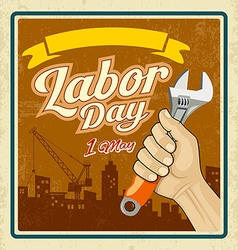 Labor day work tools construction in human hand vector