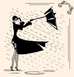 lady and rain vector image vector image