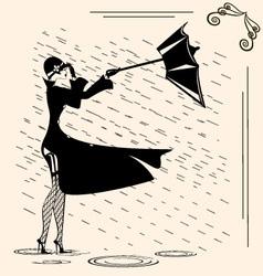Lady and rain vector