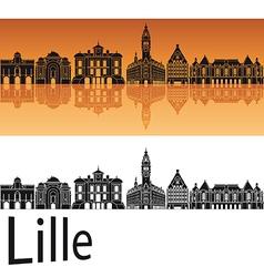 Lille skyline in orange background vector image vector image