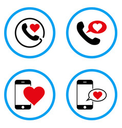 Love phone message rounded icons vector
