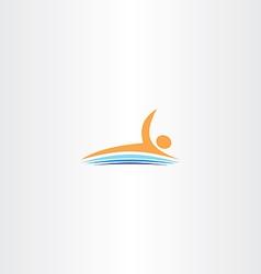 Man swim in lake icon logo vector