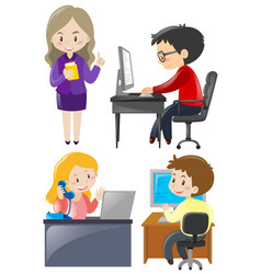 Office workers working on the desk vector