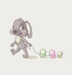 Rabbit with eggs vector image vector image