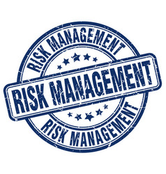 Risk management blue grunge stamp vector