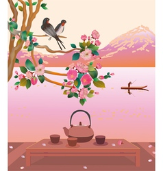 Sakura tea ceremony menu vector