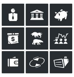 Set of Exchange Icons Broker Bank Piggy vector image vector image