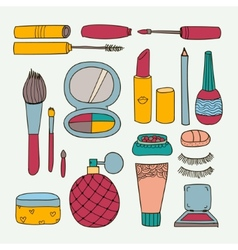 set of hand drawn doodle make up tools vector image vector image