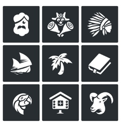 Set of life on desert island icons vector