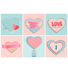 Set of romantic heart shapes vector