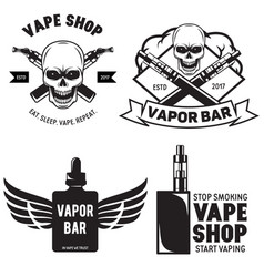 set of vape e-cigarette emblems labels prints and vector image