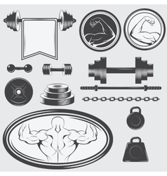 Set of vintage gym equipment and design elements vector