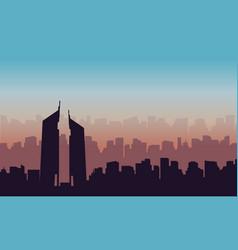 silhouette of hotel on dubai scenery vector image