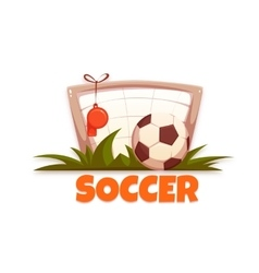 Soccer banner with football ball and goal vector image