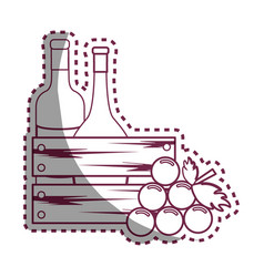 Sticker line bottles wine and grape icon vector