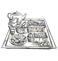 Tea serving vector image vector image
