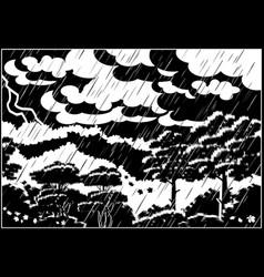 Thunderstorm autumn forest vector