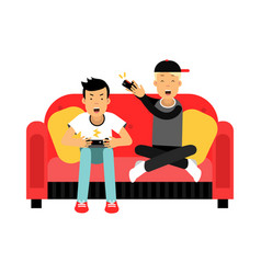 Two young male friend sitting on sofa and playing vector