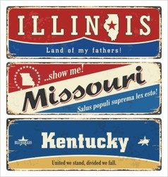 Vintage sign with usa state vector