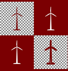 Wind turbine logo or sign bordo and white vector