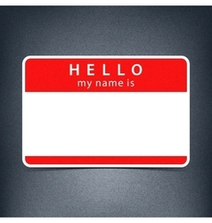 Red name tag blank sticker hello vector