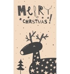 Merry christmas deer card vector