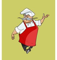 mustachioed cartoon chef gesturing steps vector image