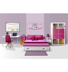 Teen girl room interior realistic image vector