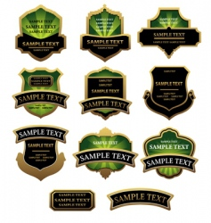 set of green and golden labels vector image
