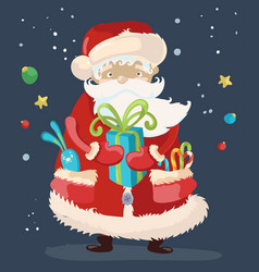 Santa claus with a gift vector