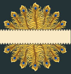 Greeting card with gold peacock feathers ribbon vector