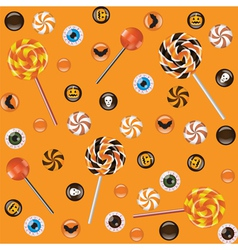 Seamless orange background with Halloween sweets vector image