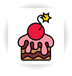Piece of cake with sugar glaze and cherry-bomb vector