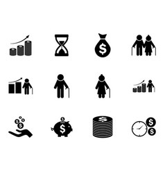Set of pension funds icons pictograms vector