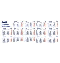 2019 calendar grid with weeks vector