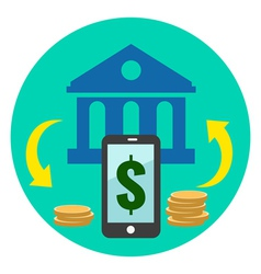 Mobile banking icon flat style isolated in vector