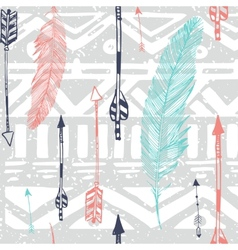 Seamless aztec tribal pattern with feather and vector