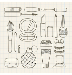 Set of hand drawn doodle make up tools vector