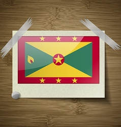 Flags grenada at frame on wooden texture vector
