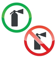 Fire extinguisher permission signs set vector