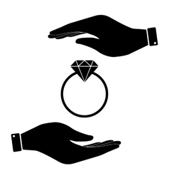 Diamond ring in hand icon vector